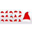 set of realistic santa hats isolated or claus hat vector image vector image