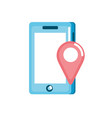 smartphone technology with location map symbol vector image