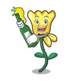 with beer daffodil flower mascot cartoon vector image vector image