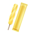 Yellow Banana Fruit Ice on Stick with Foil vector image vector image