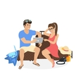 Young couple sitting on the luggage and using vector image vector image