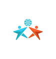 Two man logo globe hands up together people vector image