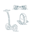 Electric scooters line set vector image