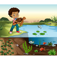 Boy and turtle by the pond vector image