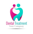 logo combination of a tooth woman and man Design vector image