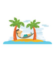 a guy laying and relaxing on the beach in summer vector image