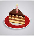 a piece chocolate cake with one candle on a vector image