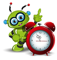 A robot and alarm clock vector image vector image