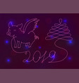 abstract new year symbol 2019 on a neon background vector image