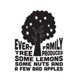 apple quote and saying every family tree produces vector image