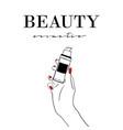 beauty cosmetics banner women s hand with makeup vector image vector image