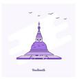 boudhanath landmark purple dotted line skyline vector image