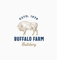 buffalo farm butchery abstract sign symbol vector image vector image
