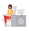 Business woman office manager at computer desk vector image vector image