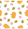 cartoon autumn pattern with pumpkin vector image vector image