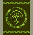 celtic pattern with tree and snake vector image