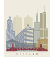 Chicago skyline poster vector image vector image