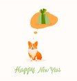 christmas gift corgi thinks about gift vector image vector image