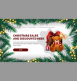 christmas sales and discount week white banner vector image vector image