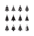 christmas tree icon nature celebration symbols vector image vector image