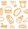 collection of fast food doodle set vector image vector image