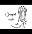 cowgirl boot with floral pattern and text ladies vector image
