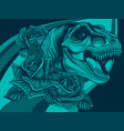 dinosaurus tyrannosaurus rex head with flower vector image vector image