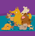 dogs and puppies cartoon animals group vector image vector image