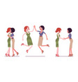 female friends meeting and greeting vector image