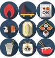 Flat round blue icons for asian food vector image vector image