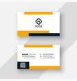 flat yellow and white business card design vector image vector image