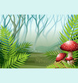 forest scene with fog on the grass vector image vector image