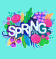fresh spring background with colorful flowers vector image vector image