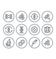 genetics icons dna chain genetic research vector image