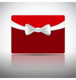 Gift card with ribbon and bow vector image vector image