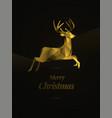 golden reindeer merry christmas vector image