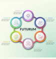 gradient colored round diagram with 6 vector image vector image