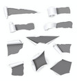 grey holes realistic set in white paper with torn vector image vector image