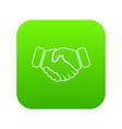 handshake ice hockey icon green vector image vector image