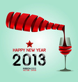 Happy new year 2013 ribbon wine bottle shape vector image vector image