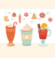 hot winter drink christmas mug xmas food cocoa vector image