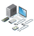 isometric computer parts collection vector image