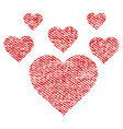 lovely hearts fabric textured icon vector image vector image