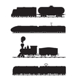 Modern vintage trains black and white vector image vector image