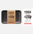 package design for farm fresh meat food pork vector image