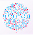 percentages concept in circle with thin line icon vector image
