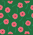 pink liquid flowers pattern on green background vector image vector image