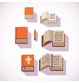 pixel art style closed and open book icons set vector image