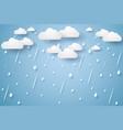 rain background rainy season paper art style vector image vector image