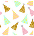 seamless pattern caps for a birthday on a white vector image vector image